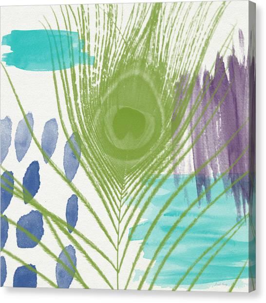 Peacocks Canvas Print - Plumage 4- Art By Linda Woods by Linda Woods