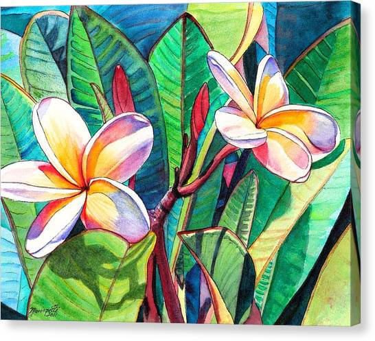 Hawaiian Flower Canvas Print - Plumeria Garden by Marionette Taboniar