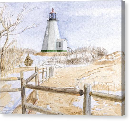 Canvas Print featuring the painting Plymouth Light In Winter by Dominic White