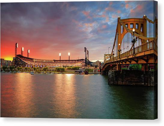 Roberto Clemente Canvas Print - Pnc Park At Sunset by Emmanuel Panagiotakis