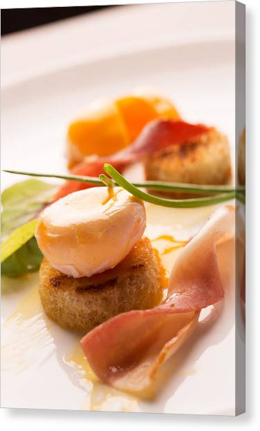 Eggs And Bacon Canvas Print - Poached Egg With Fresh Salad by Vadim Goodwill