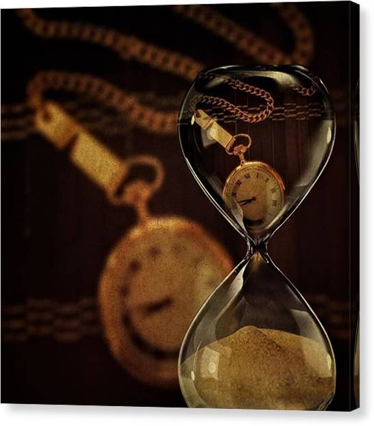 Sands Canvas Print - Pocket Watch And Sandglass by Susan Candelario