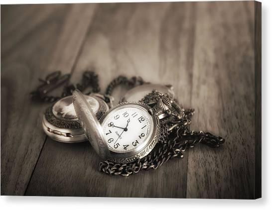 Brass Canvas Print - Pocket Watches Times Three by Tom Mc Nemar