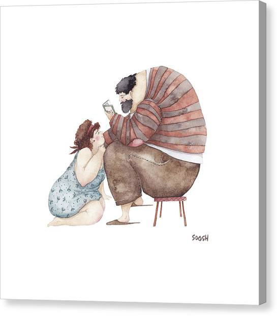 Lovers Drawing Canvas Print - Poem Reading by Soosh