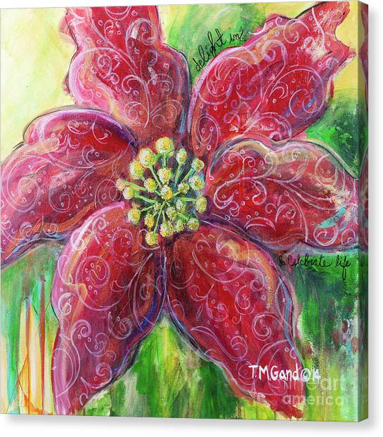 Canvas Print featuring the painting Poinsettia by TM Gand