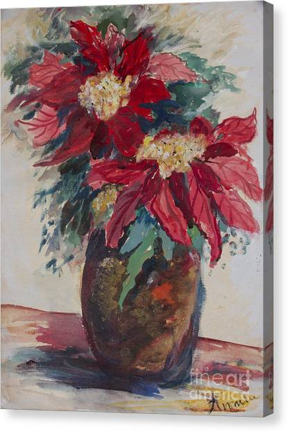 Poinsettias In A Brown Vase Canvas Print