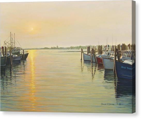 Point Judith Harbor Canvas Print by Bruce Dumas