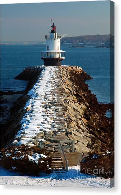 Portland Lighthouse Canvas Print - Point Spring Ledge Light - Lighthouse Seascape Landscape Rocky Coast Maine by Jon Holiday