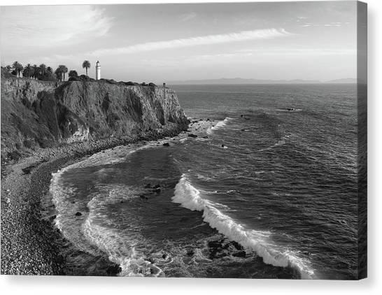 Point Vicente Lighthouse Palos Verdes California - Black And White Canvas Print