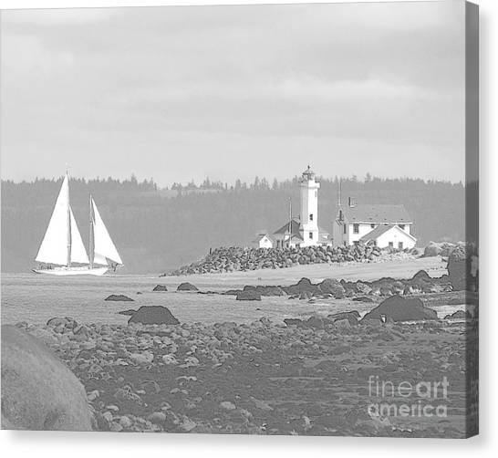 Point Wilson Lighthouse And Sailboat Canvas Print