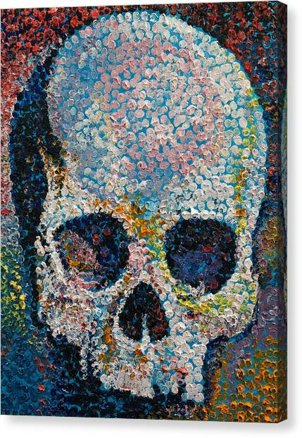 Pointillism Canvas Print - Pointillism Skull by Michael Creese