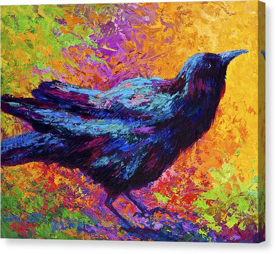 Crows Canvas Print - Poised - Crow by Marion Rose