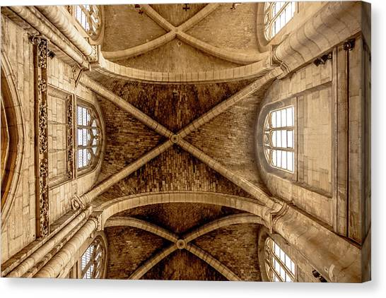 Canvas Print featuring the photograph Poissy, France - Ceiling, Notre-dame De Poissy by Mark Forte