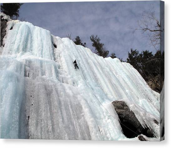 Pok-o-moonshine Ice Clmbing In The Adirondacks Canvas Print by Brendan Reals