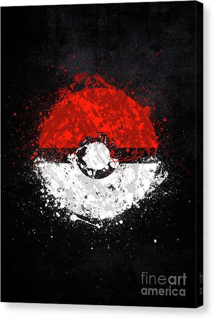 Gameboy Canvas Print - Pokeball by Jonathon Summers