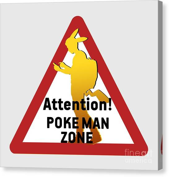 Pokemon Go Canvas Print - Pokeman Road Signage 2 by Irina Effa