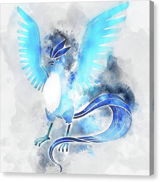 Pokemon Go Canvas Print - Pokemon Articuno Abstract Portrait - By Diana Van by Diana Van
