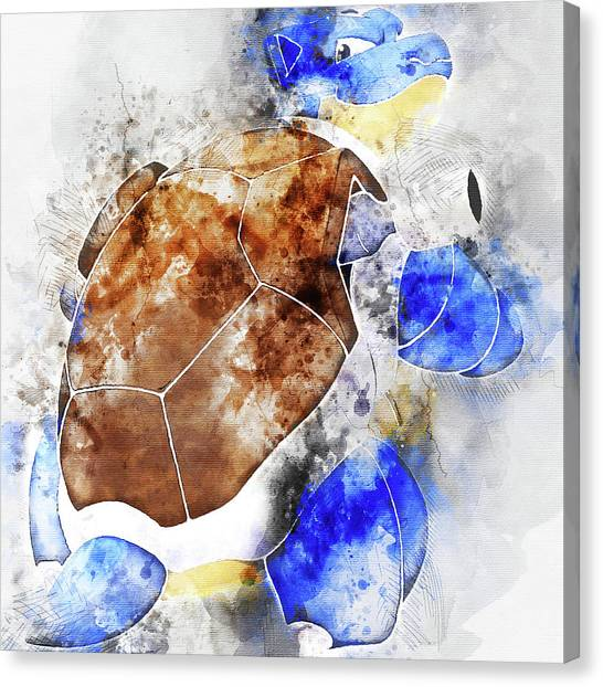 Pokemon Go Canvas Print - Pokemon Blastoise Abstract Portrait - By Diana Van by Diana Van