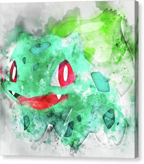 Pokemon Go Canvas Print - Pokemon Bulbasaur Abstract Portrait - By Diana Van by Diana Van