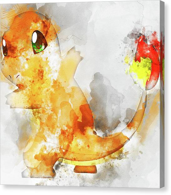 Pokemon Go Canvas Print - Pokemon Charmander Abstract Portrait - By Diana Van by Diana Van