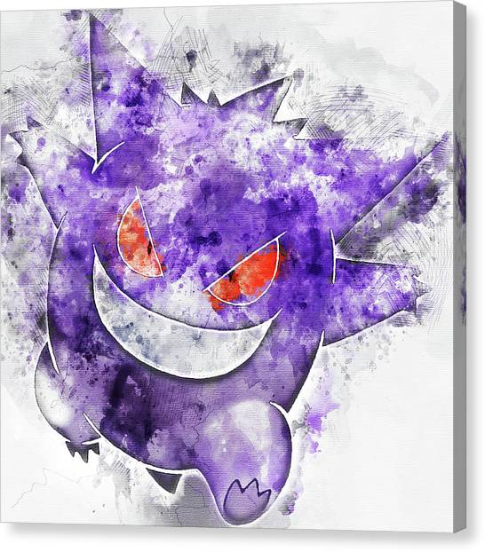 Pokemon Go Canvas Print - Pokemon Gengar Abstract Portrait - By Diana Van by Diana Van