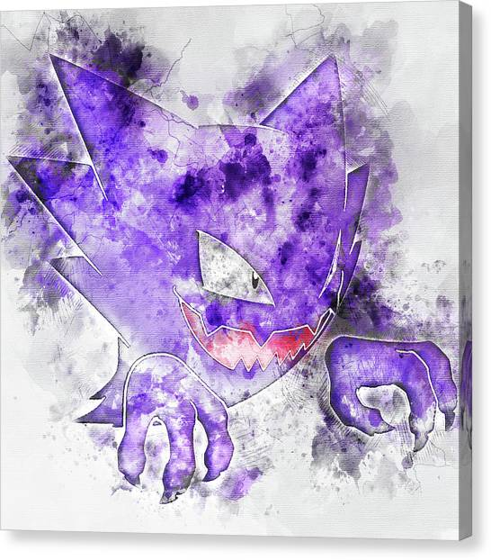 Pokemon Go Canvas Print - Pokemon Haunter Abstract Portrait - By Diana Van by Diana Van