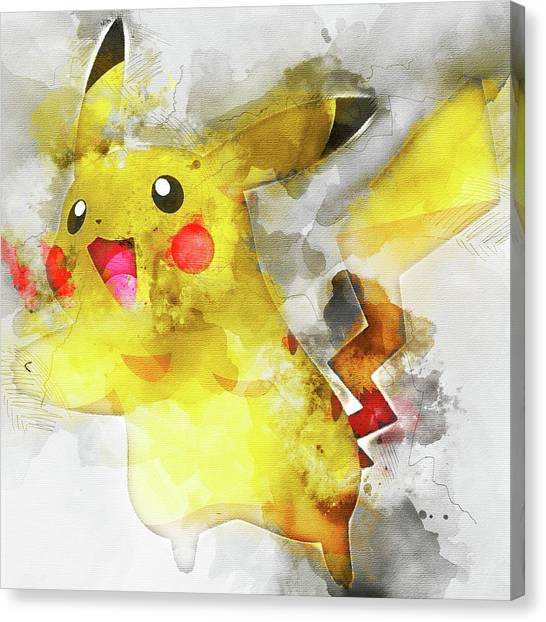 Pokemon Go Canvas Print - Pokemon Pikachu Abstract Portrait - By Diana Van by Diana Van