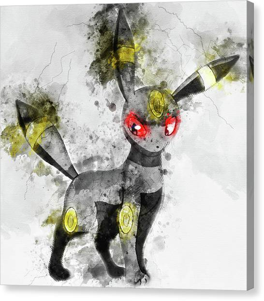 Pokemon Go Canvas Print - Pokemon Umbreon Abstract Portrait - By Diana Van by Diana Van