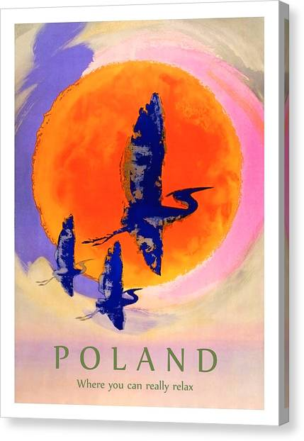 Storks Canvas Print - Poland, Flying Storks On The Sun, Travel Poster by Long Shot
