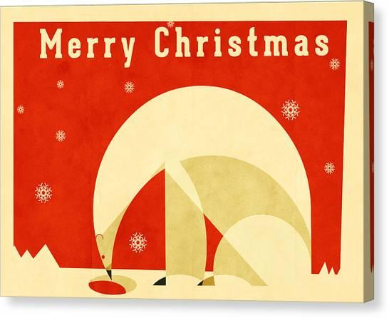 Santa Claus Canvas Print - Polar Bear 2 by Daviz Industries