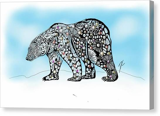 Canvas Print featuring the digital art Polar Bear Doodle by Darren Cannell