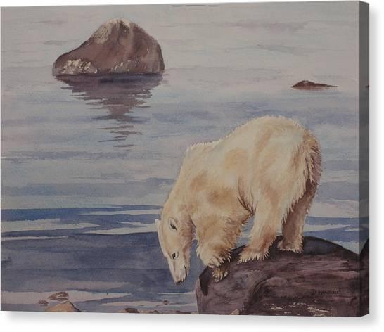 Polar Bear Fishing Canvas Print by Debbie Homewood