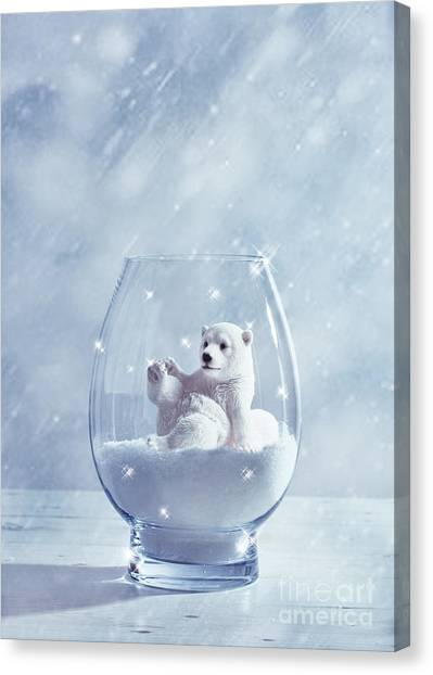 Snowball Canvas Print - Polar Bear In Snow Globe by Amanda Elwell