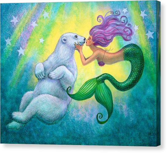 Mermaid Canvas Print - Polar Bear Kiss by Sue Halstenberg