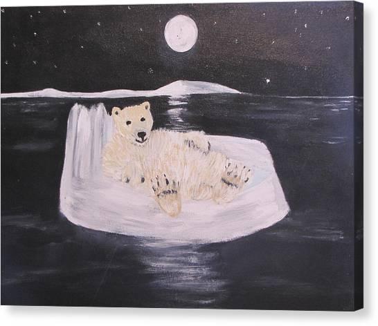 Polar Bear On Ice Canvas Print