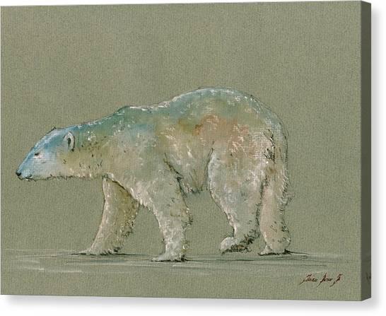 Polar Bear Canvas Print - Polar Bear Original Watercolor Painting Art by Juan  Bosco