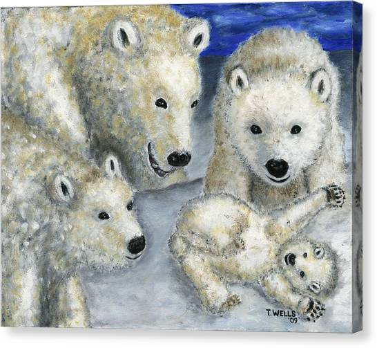 Polar Bears At Play In The Arctic Canvas Print by Tanna Lee M Wells