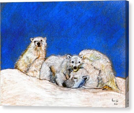 Polar Bears With Love Canvas Print by Marie Loh