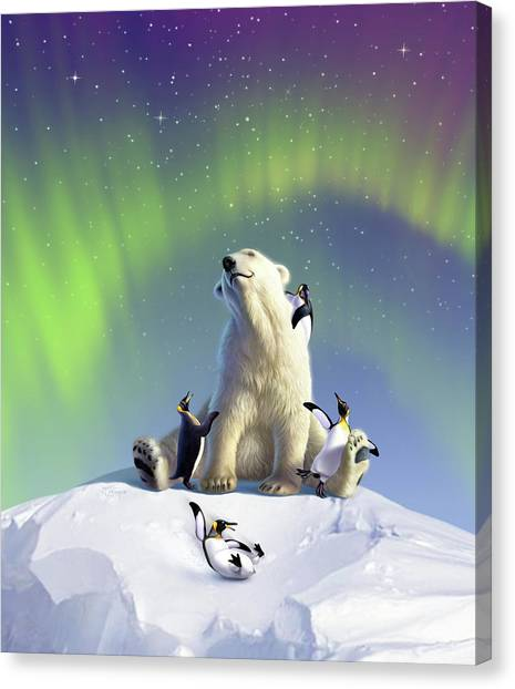 Penguins Canvas Print - Polar Opposites by Jerry LoFaro
