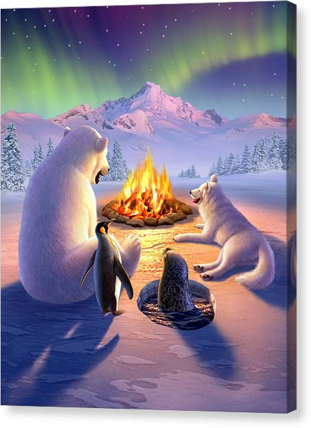 Penguins Canvas Print - Polar Pals by Jerry LoFaro