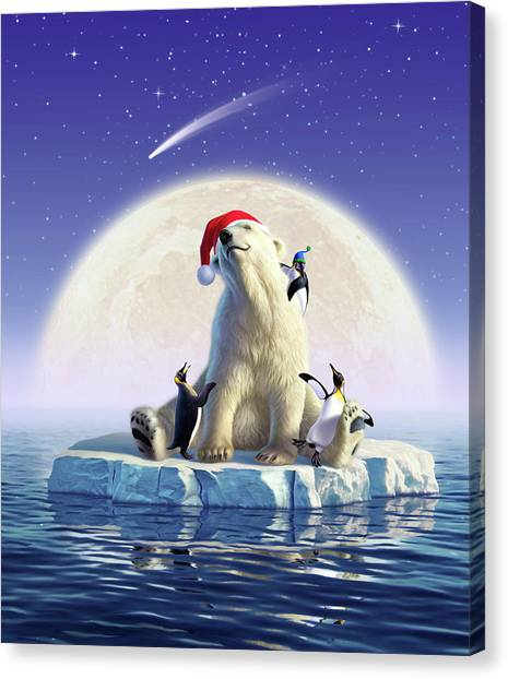 Polar Bear Canvas Print - Polar Season Greetings by Jerry LoFaro