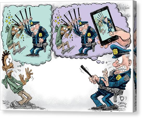 Canvas Print featuring the drawing Police Beatings And Phone Videos by Daryl Cagle