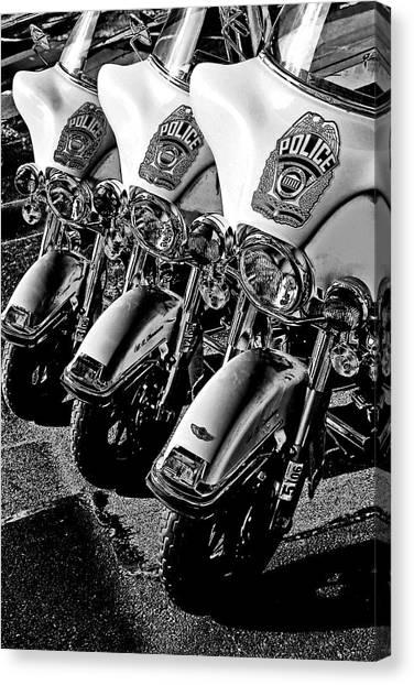Police Bikes Canvas Print