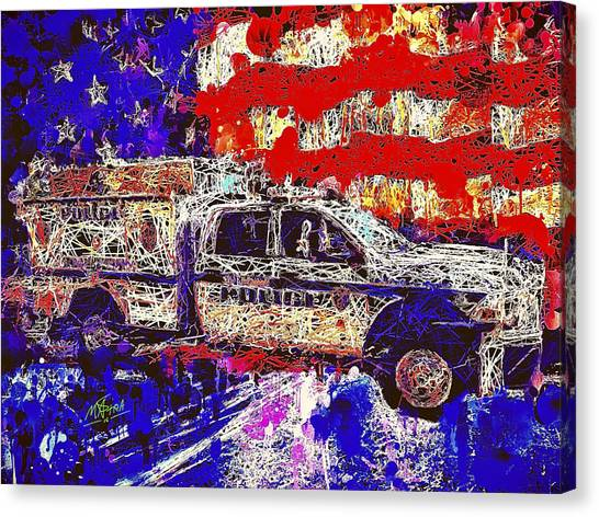 Police Truck Canvas Print