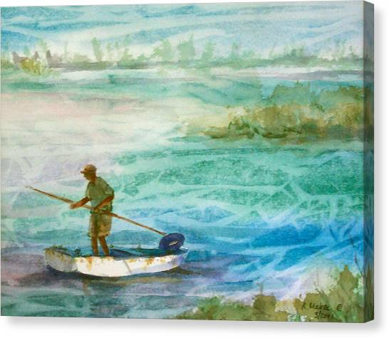 Poling The Flats Canvas Print by Ruth Mabee