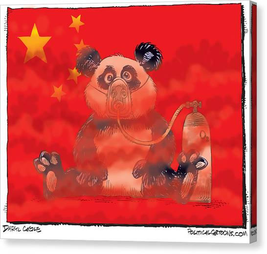 Canvas Print featuring the drawing Pollution In China by Daryl Cagle