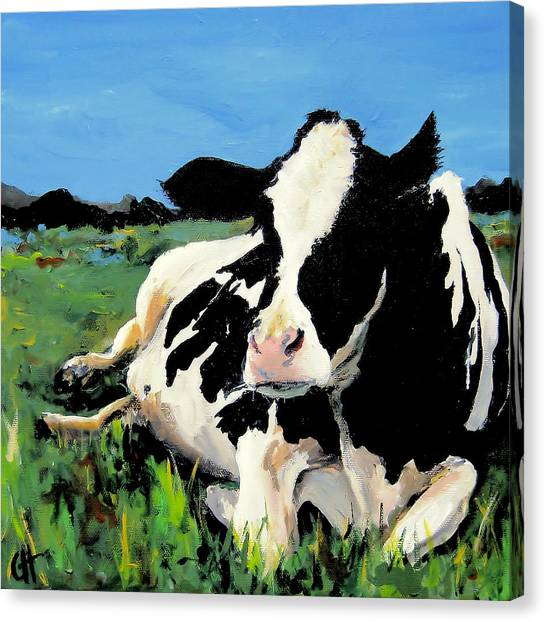 Polly The Cow Canvas Print by Cari Humphry