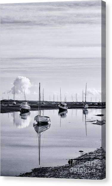 Dinghy Canvas Print - Reflections In A Creek  by John Edwards