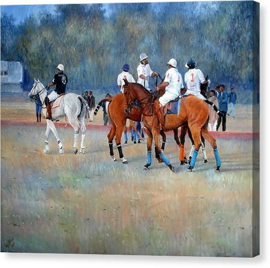 Polo Horses Painting Canvas Print by Abid Khan