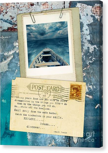 Poloroid Of Boat With Inspirational Quote Canvas Print